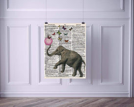 Elephant Bubblegum Butterflies Vintage Dictionary Style Art Print | Unframed | 8.5 x 11