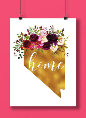 Nevada Gold Floral Home Hand Lettered Art Print
