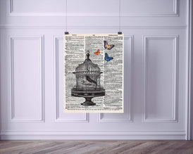 Bird Cage with Butterflies Vintage Dictionary Style Art Print | Unframed | 8.5 x 11
