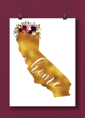 California Gold Floral Home Art Print