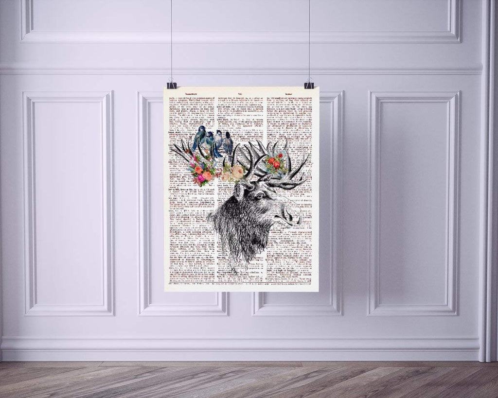 Elk Head with Birds and Flowers Vintage Dictionary Style Art Print | Unframed | 8.5 x 11