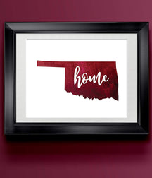 Oklahoma Home Watercolor Print | State Home Print | Wall Decor