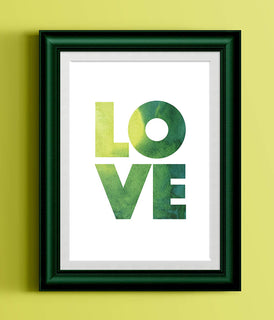 LOVE Typography Green Watercolor Print