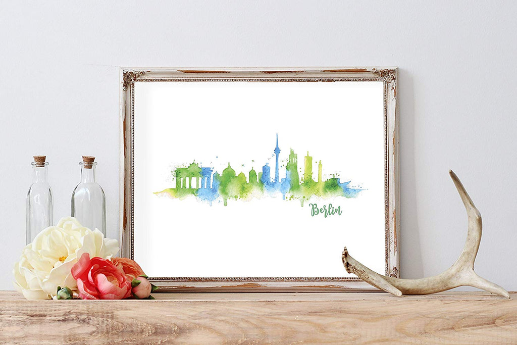 Berlin Silhouette Watercolor Home Print