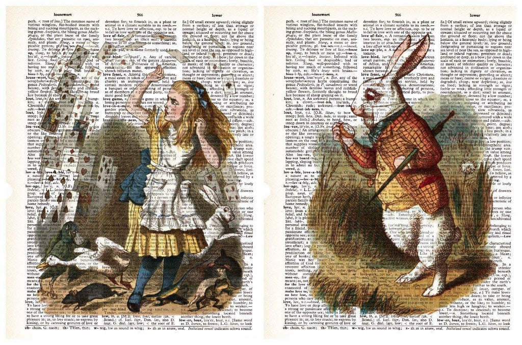 March Hare Alice in Wonderland 2 Pack Vintage Dictionary Style Art Print | Unframed | 8.5 x 11