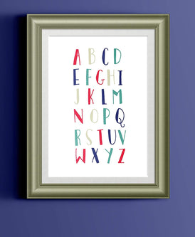 Alphabet Whimsical Nursery Art | Fun Educational Typography Home Decor