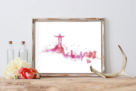 Rio Silhouette Watercolor Home Print