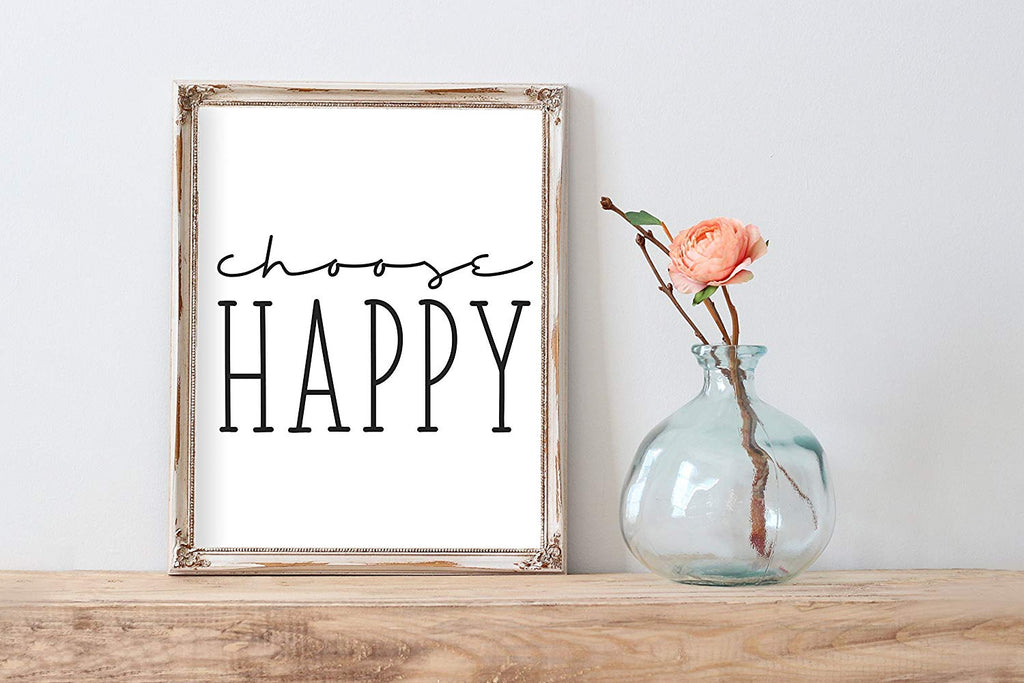Choose Happy Poster | Wall Decor | Home Print Cute Black White Typography