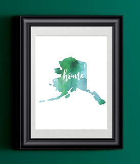 Alaska Home Watercolor Print | State Home Poster | Wall Decor