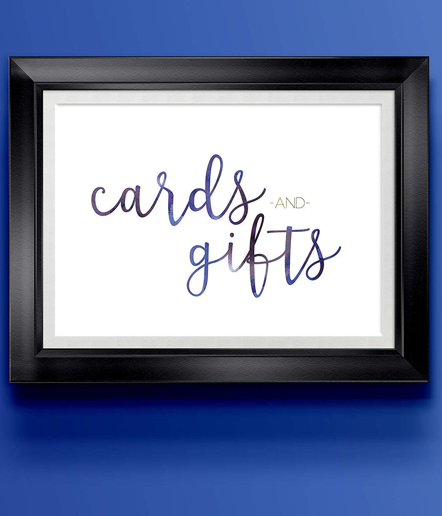Cards Gifts Blue Modern Wedding Art Print | 8.5 x 11 | Wall Decor