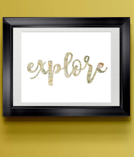Whimsical Travel Modern Typography Print | Explore | Wall Decor
