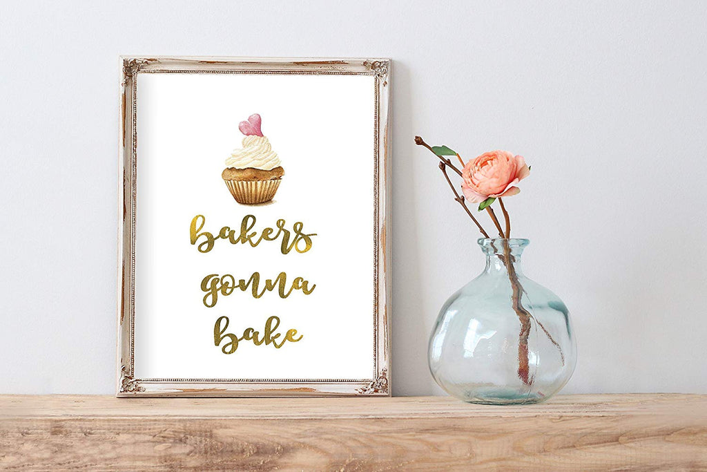 Bakers Gonna Bake Cupcake Cute Home Print Wall Art Kitchen Decor