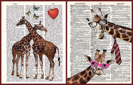Vintage Dictionary Style Art Prints Posters Giraffes 2 Pack | Unframed | US Letter Size