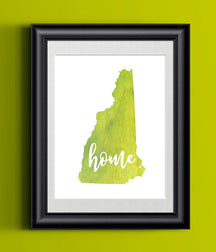 New Hampshire Home Watercolor Print | State Home Poster | Wall Decor