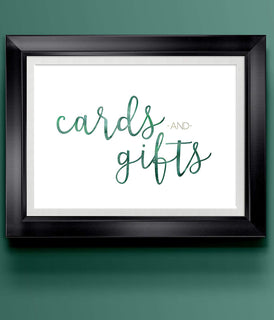 Cards & Gifts Green | Modern Wedding Art Print | 8.5 x 11 | Wall Decor