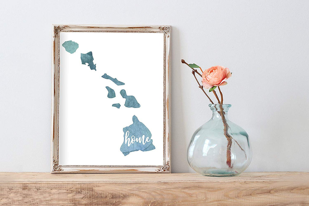 Hawaii Home Watercolor Print | State Home Poster | Wall Decor