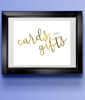 Cards & Gifts Gold | Modern Wedding Art Print | 8.5 x 11 | Wall Decor