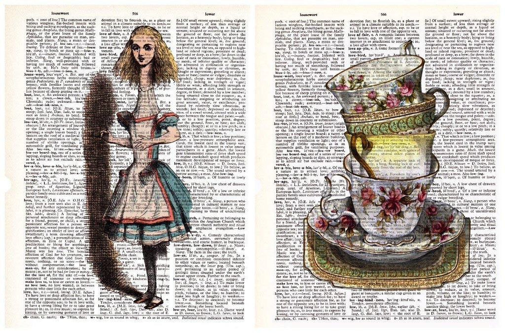 Teacups Alice in Wonderland 2 Pack Vintage Dictionary Style Art Print | Unframed | 8.5 x 11