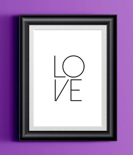 LOVE Typography Poster | Wall Decor | Home Print Modern Black White