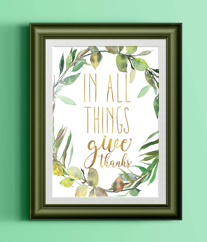 In All Things Give Thanks Poster Watercolor Greenery Wreath Black Typography
