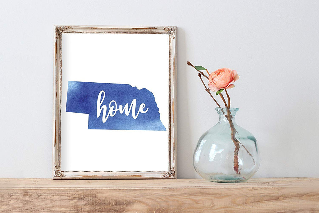 Nebraska Home Watercolor Print | State Home Poster | Wall Decor