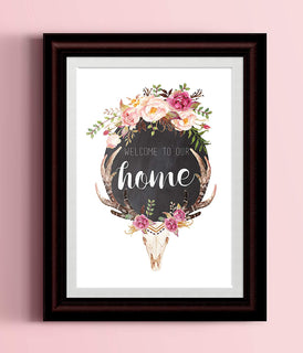 Welcome to Our Home Floral Skull Typography Poster Watercolor Blush Floral Wreath Black Typography