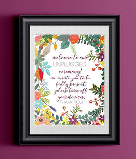 Modern Wedding Art Print | 8.5 x 11 | Unplugged Wedding Floral | Wedding Decor