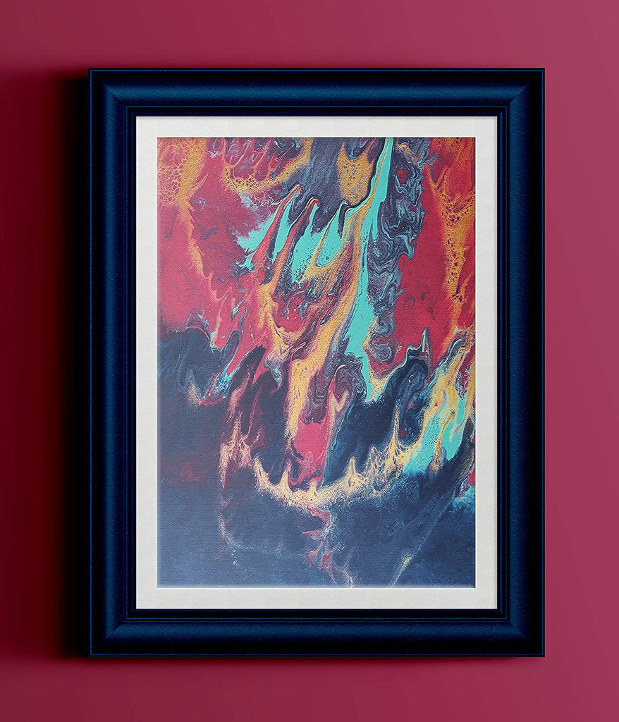 "Red Gold Teal Navy Abstract Fluid Painting Fine Art Print // ""Hydra"""