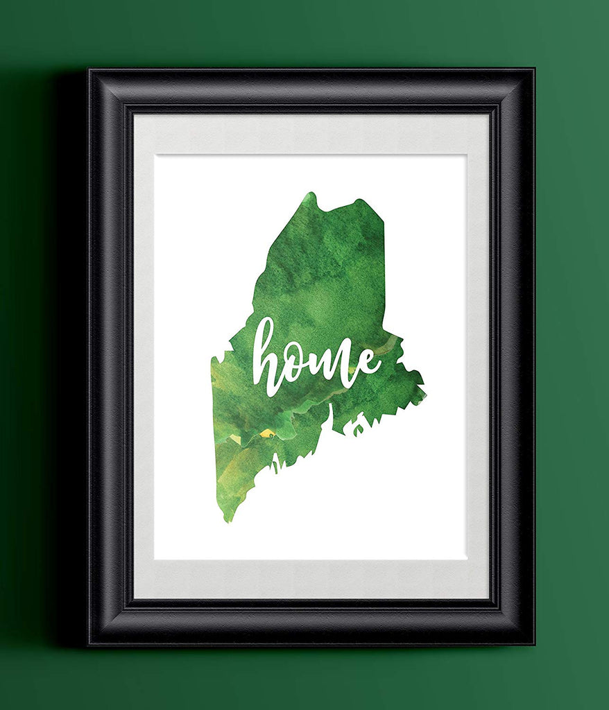 Maine Home Watercolor Print | State Home Poster | Wall Decor