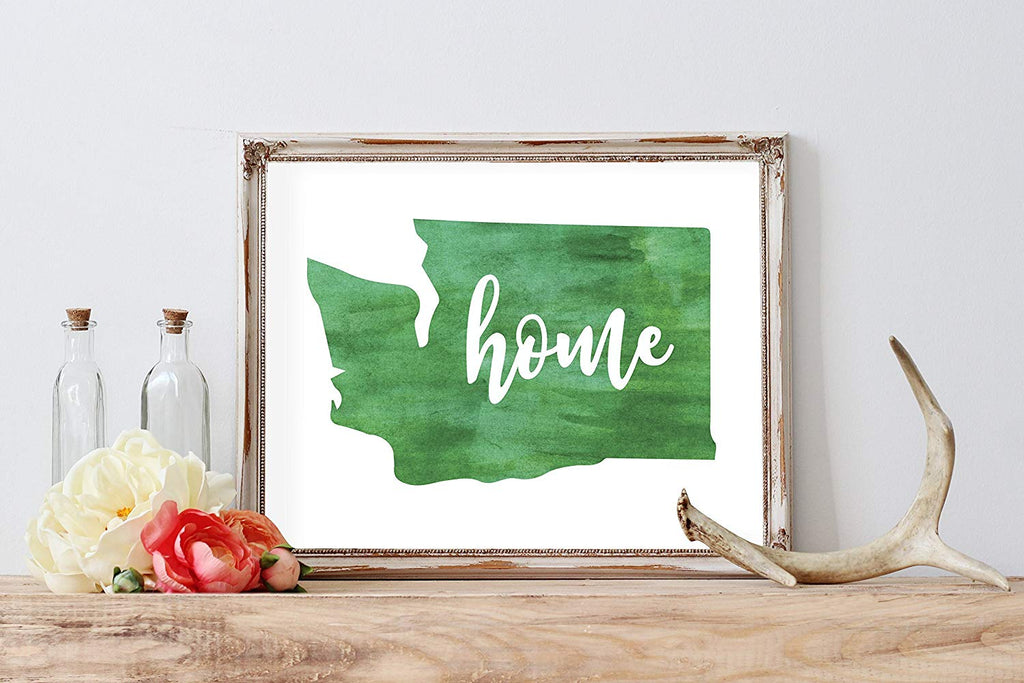 Watercolor Washington Home Print | 8.5 x 11 | Wall Decor