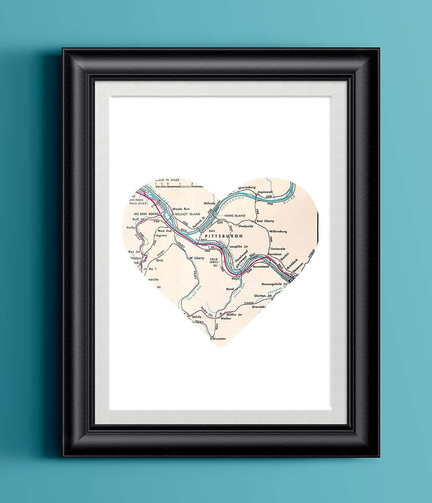 Pittsburgh Map Heart Home Print | Wall Art | Wall Decor