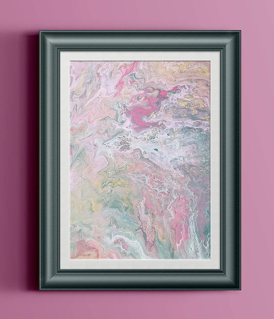 "Pink White Gold Abstract Fluid Painting Fine Art Print // ""Ethereal"""
