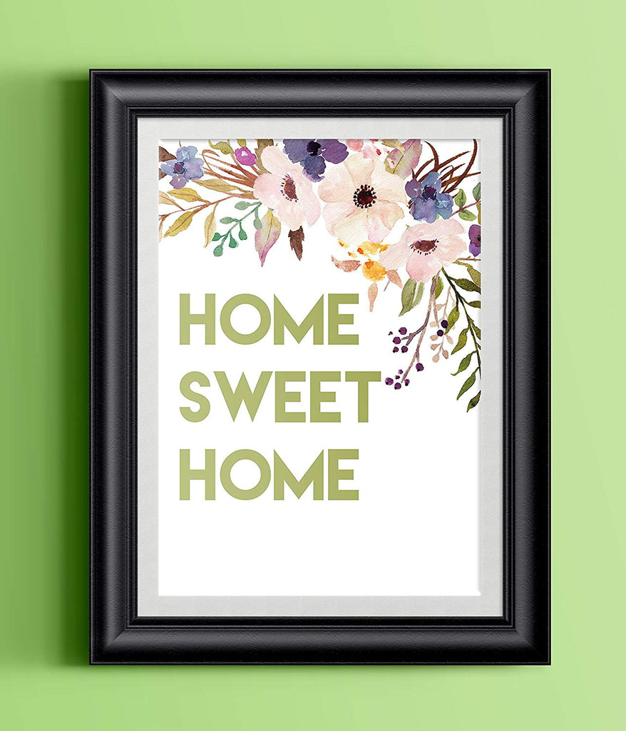 Watercolor Flowers Home Sweet Home Print | 8.5 x 11 | Wall Decor