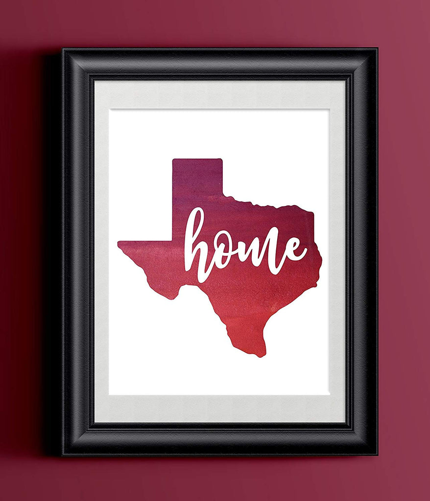 Texas Watercolor Home Print | State Home Sign | Wall Decor