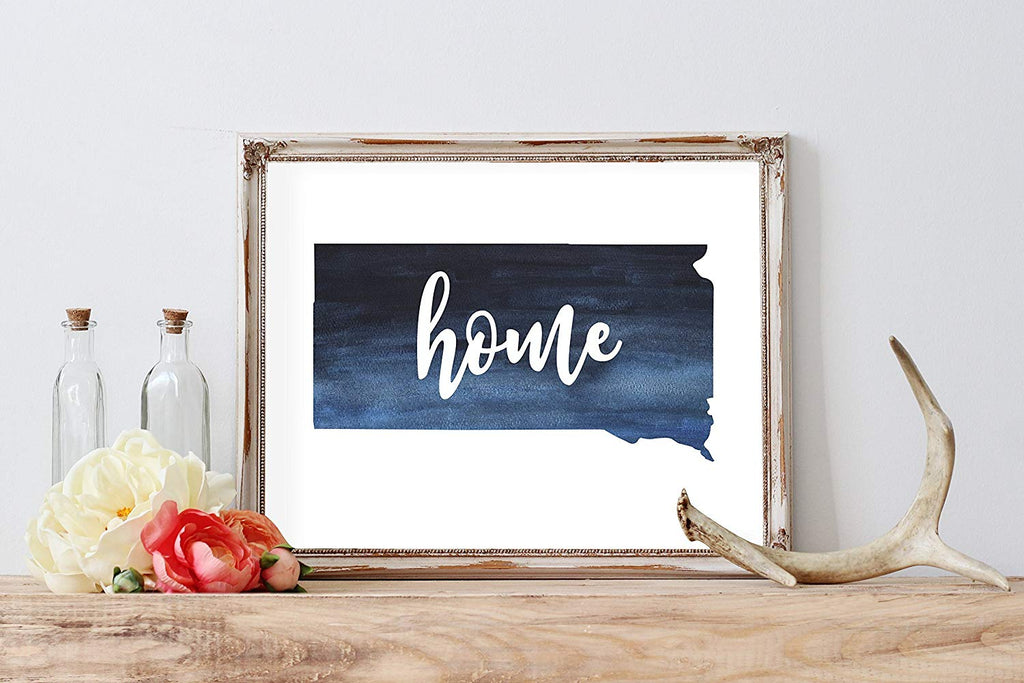 South Dakota Home Watercolor Print | State Home Poster | Wall Decor