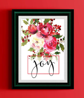 Joy Poster Watercolor Holly Red Floral Bouquet Black Typography