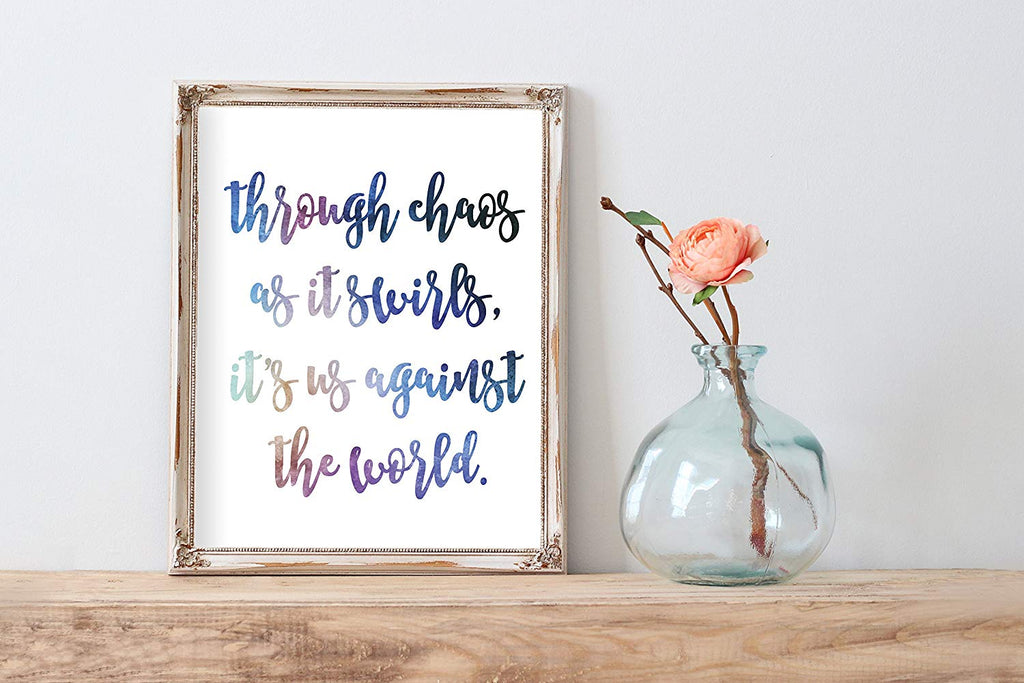 Watercolor Us Against the World Lyrics Print | Wall Decor