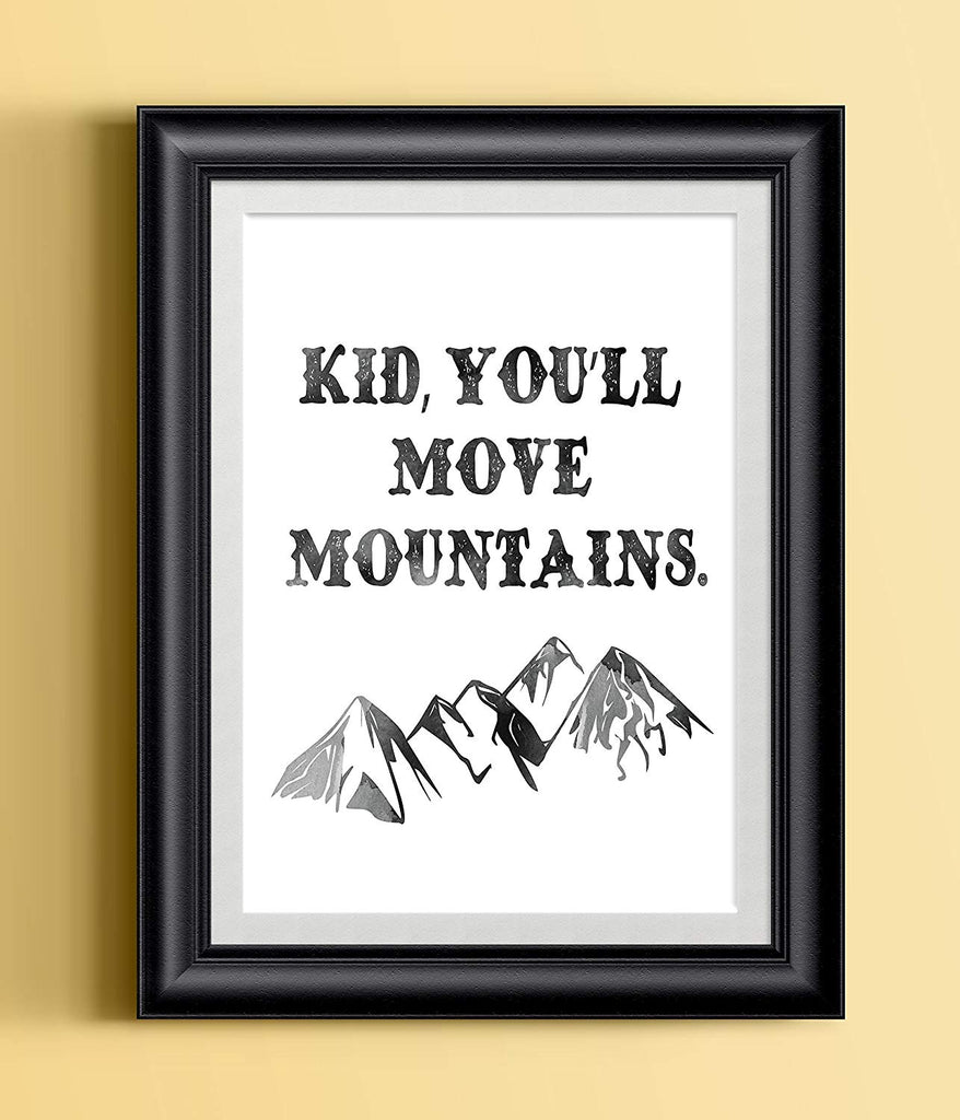 Kid You'll Move Mountains | Whimsical Watercolor Dr Seuss Quote Print | Nursery Art
