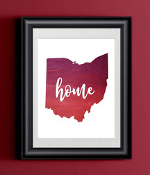 Ohio Home Watercolor Print | Home State Poster | Wall Decor