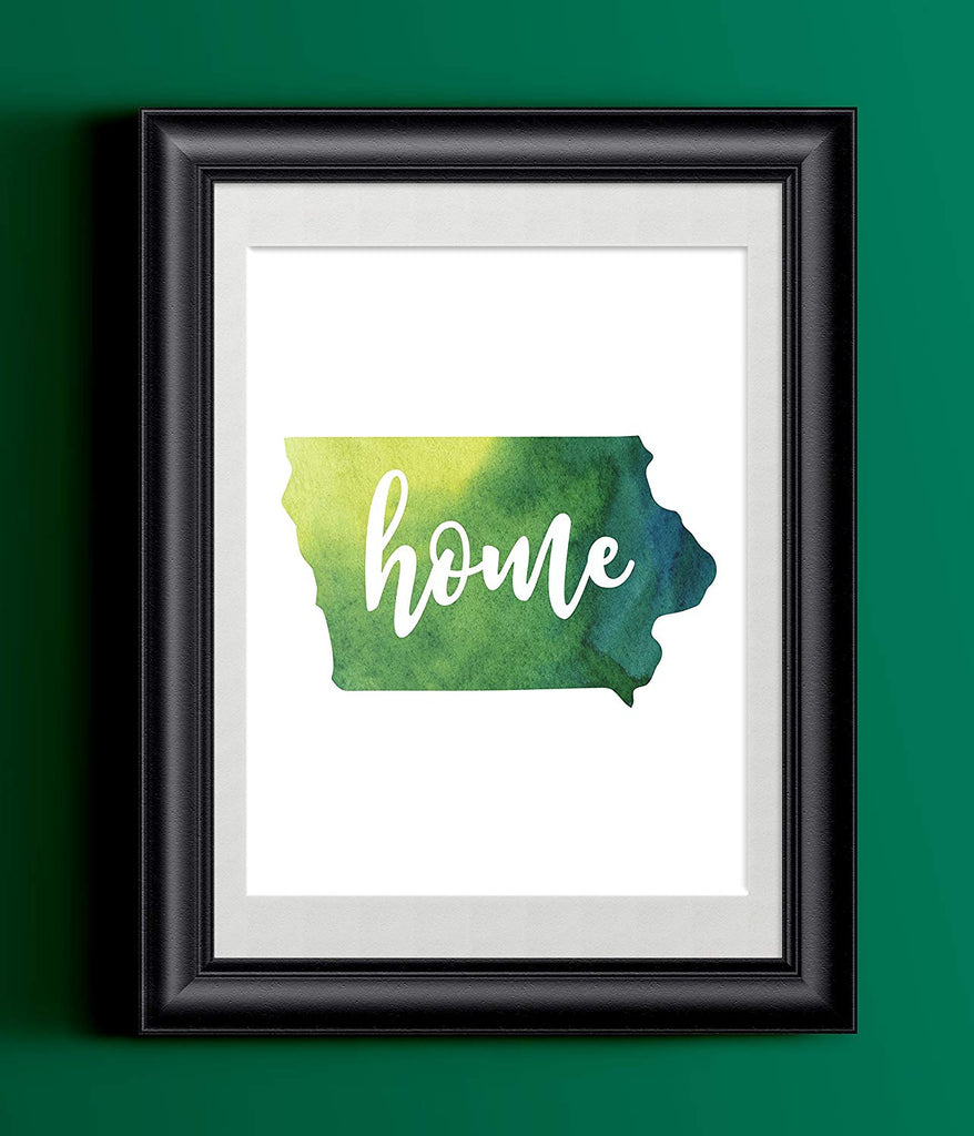 Iowa Watercolor Home Print | 8.5 x 11 | Wall Decor
