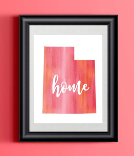 Utah Home Watercolor Print | State Home Poster | Wall Decor