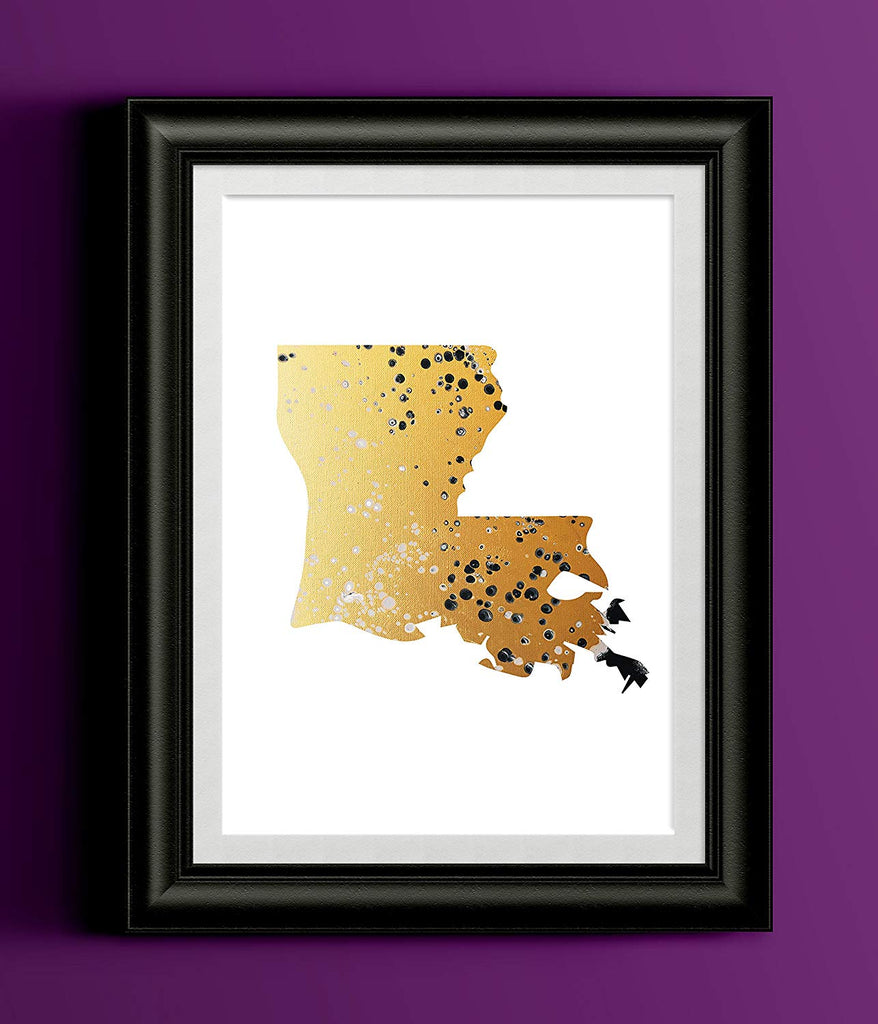 Louisiana Gold Fluid Painting Home Print