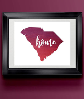 South Carolina Watercolor Home Print | State Home Poster | Wall Decor