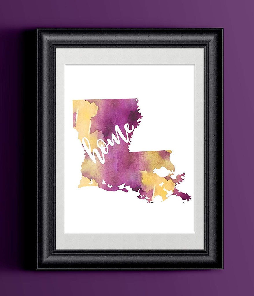 Louisiana Home Watercolor Print | Home State Poster | Wall Decor