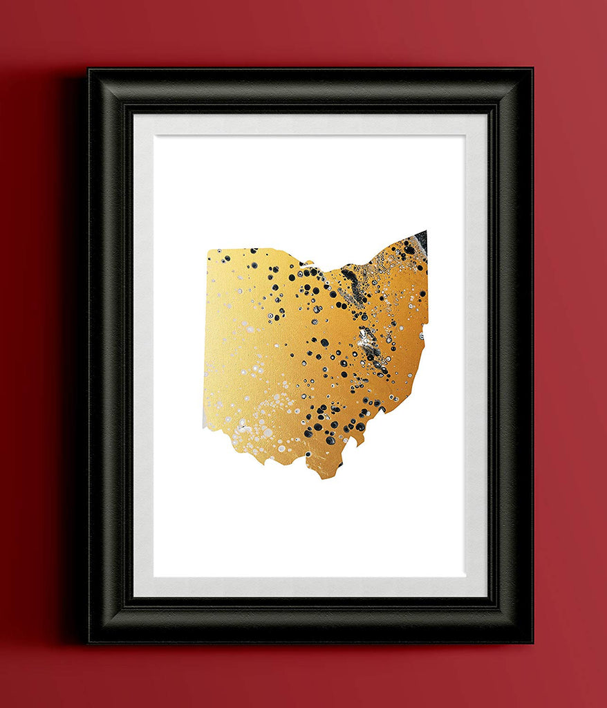 Ohio Gold Fluid Painting Home Print