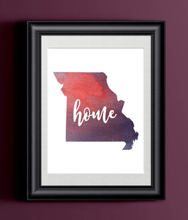 Missouri Home Watercolor Print | State Home Poster | Wall Decor