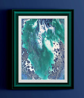 "Blue White Green Abstract Fluid Painting Fine Art Print // ""Riviera"""
