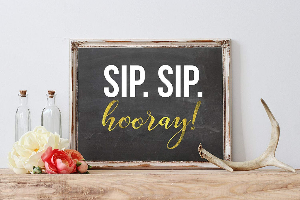 Modern Wedding Art Print | 8.5 x 11 | Sip Sip Hooray | Wedding Decor