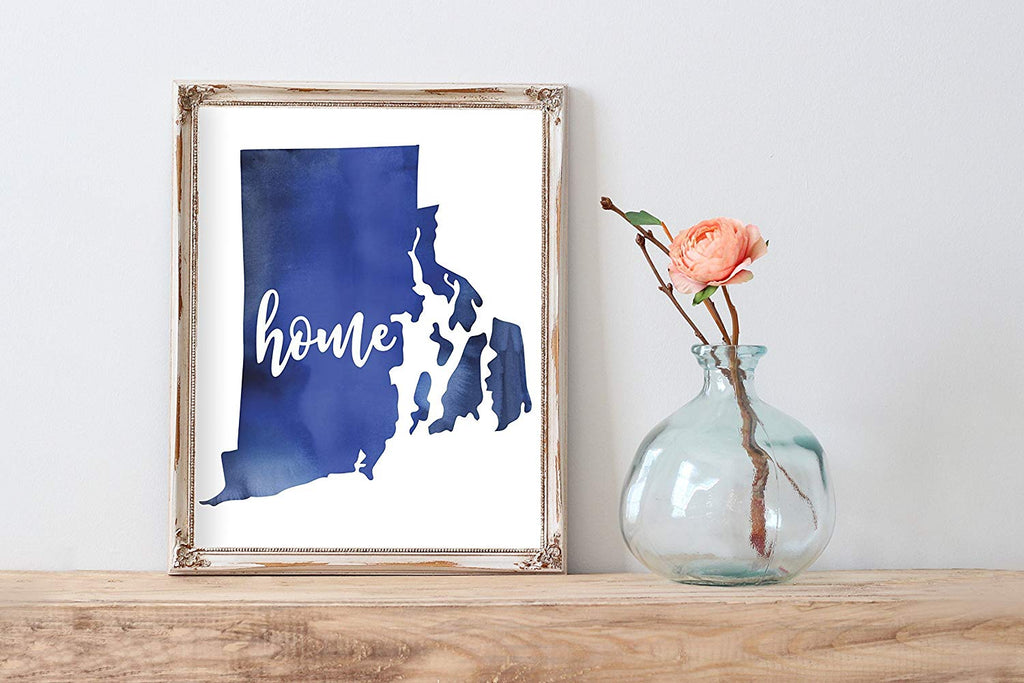 Rhode Island Home Watercolor Print | State Home Poster | Wall Decor