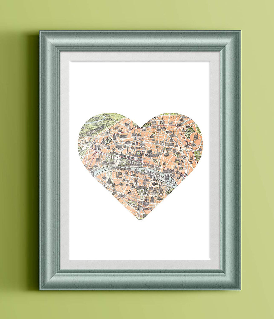 Paris Map Heart Home Print | Wall Art | Wall Decor
